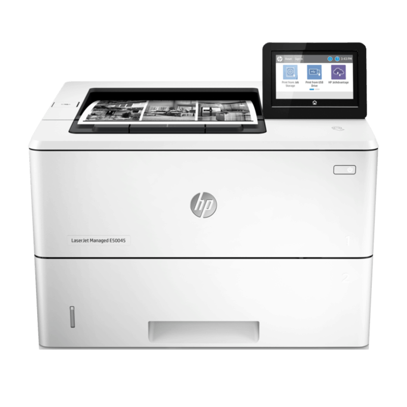 HP LaserJet Managed E50045dw Mono A4 Printer Front View web